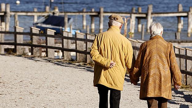 Rentner spazieren auf Weg entlang See