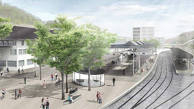 Visualisierung neuer Bahnhofplatz Herisau