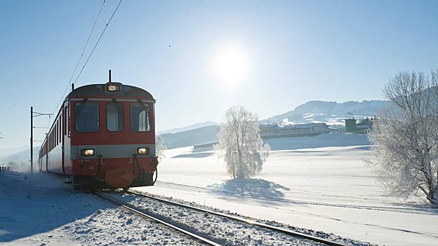 Zug der Appenzeller Bahnen im Schnee