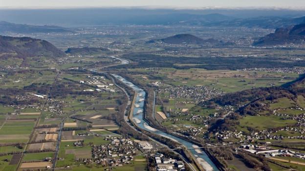 Luftaufnahme des St. Galler Rheintal