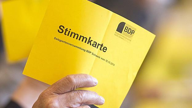 Stimmkarte mit BDP-Logo.