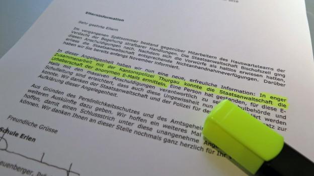 Schule Erlen: Urheber der anonymen Vorwürfe ausfindig gemacht.