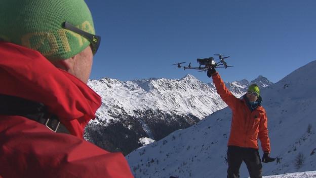 Drohne misst Schneedicke