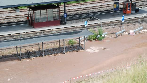 Überschwemmungen in Unterterzen.