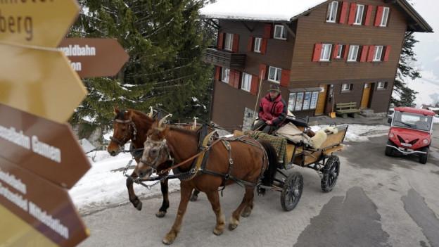 Eine Kutsche unterwegs in Braunwald, dahinter ein Auto.