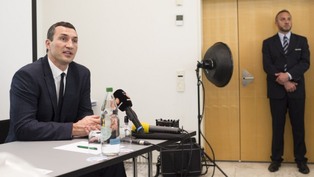 Wladimir Klitschko in einem Hörsaal der Uni St. Gallen.