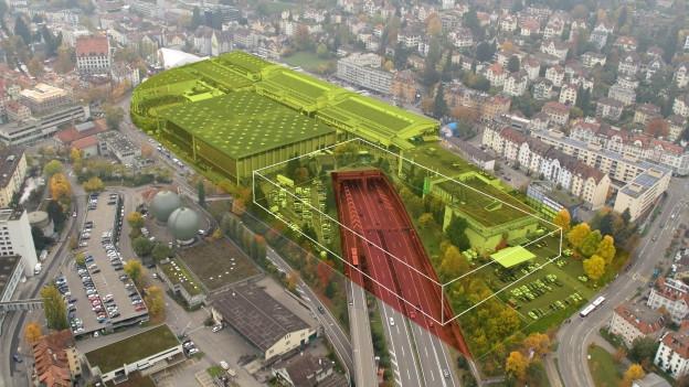 Visualisierung: Der Decker über der Autobahn bei St. Gallen-St. Fiden wird konkret.