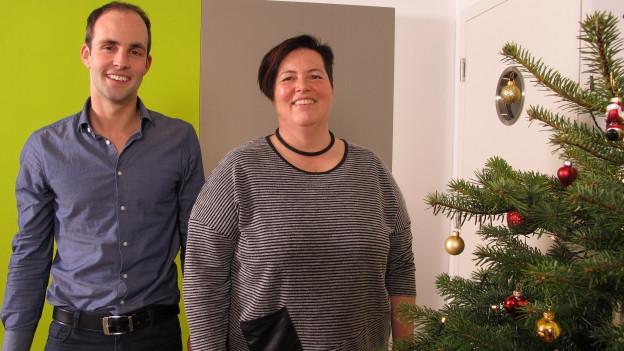 Sportschützin Heidi Diethelm mit SRF-Redaktor Philipp Gemperle.