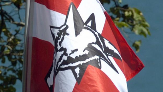 Fahne mit Pnos-Logo.
