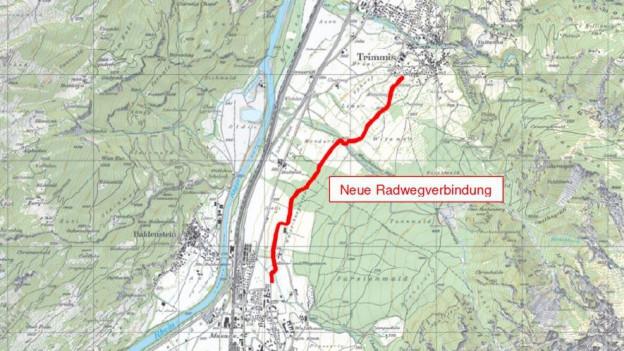 Mögliche Route für den Veloweg