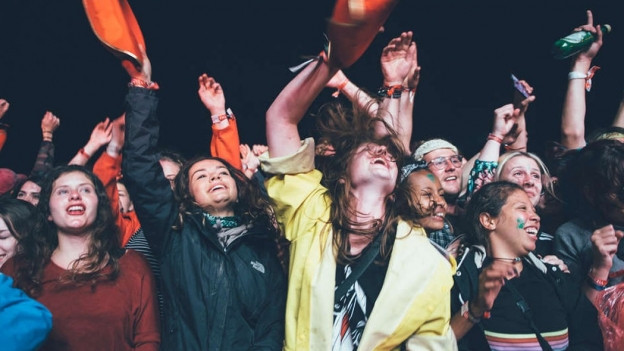 Fans feiern vor der Bühne am Festival