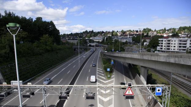 Blick von der Stadtautobahn auf das Olma-Areal