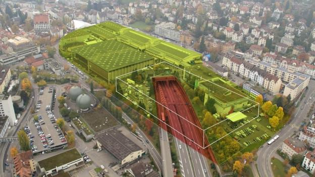 Visualisierung: der Decker über der Autobahn bei St. Gallen-St. Fiden