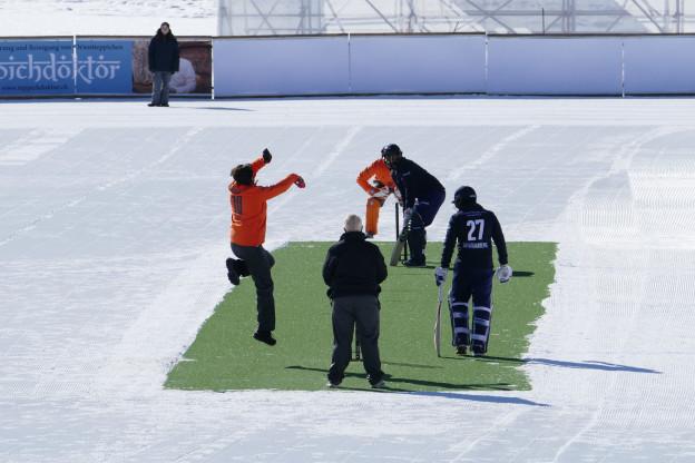 Cricket mal nicht auf Rasen sondern auf Schnee