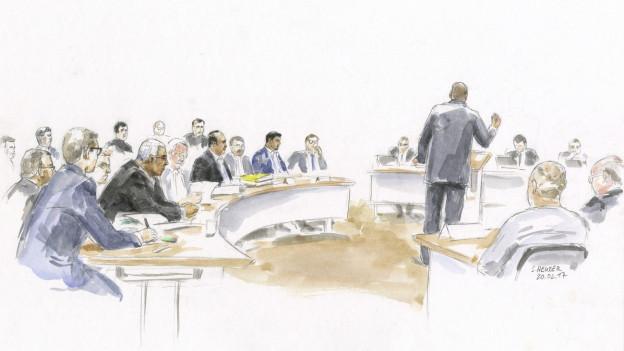 Gerichtszeichnung zu einem der groessten und aufwendigsten Prozesse in der Thurgauer Strafprozess-Geschichte