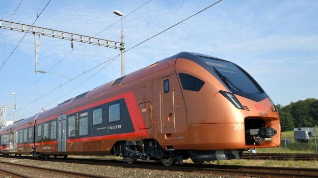 Moderner Zug auf Schienen