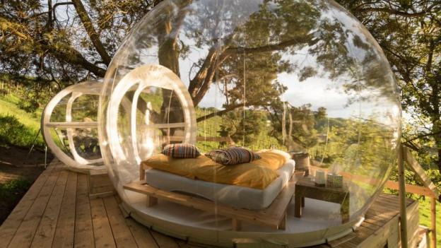 Plastikkugel in der Natur mit Bett und Nachttisch