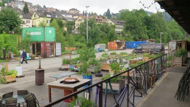 Zwischennutzung auf dem Güterbahnhofareal in St. Gallen: das Lattich-Quartier.