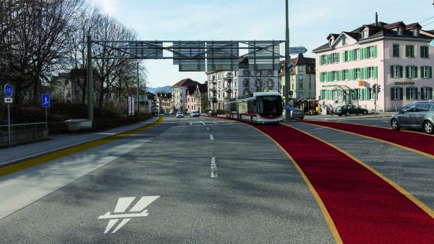 In 30 Jahren könnten anstelle von Bussen wieder Trams auf St. Galler Strassen verkehren.