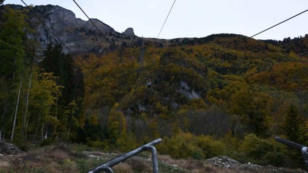 Blick auf die Staubern-Bergbahn von der Talstation