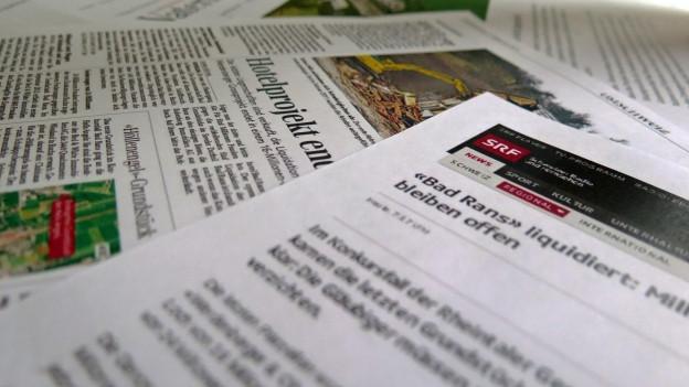 Medienberichte zum gescheiterten Hotelprojekt Bad Rans in Sevelen