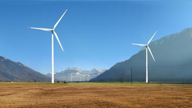 Visualisierung mehrerer Windräder im Linthgebiet