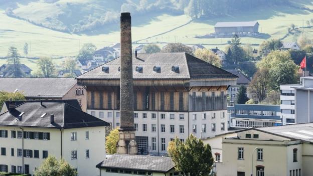 Bild des Areals mit Hänggiturm, Industriekamin und diversen Gebäuden