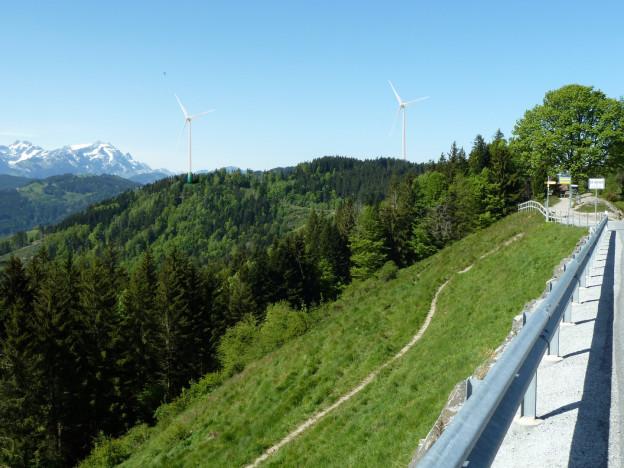 Eine Visualisierung des Windparkprojekts in Oberegg.