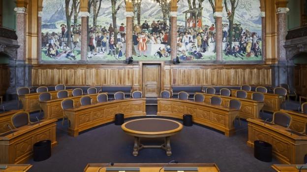Leerer Ständeratssaal in Bern.