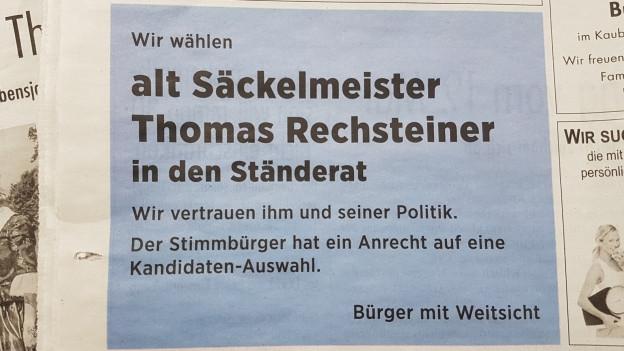 In einem Inserat wird Thomas Rechsteiner als Ständerat vorgeschlagen.