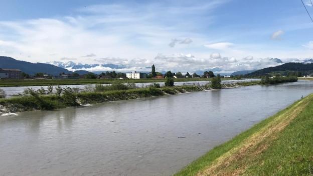 Alpenrhein überflutet Vorländer