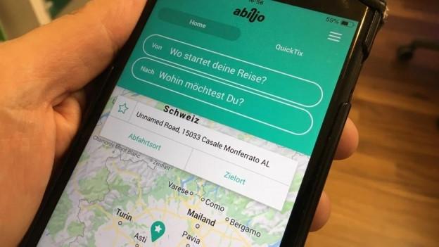 Geöffnete App auf Smartphone