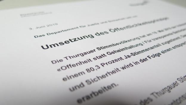 Öffentlichkeitsprinzip: Thurgau erarbeitet Gesetzesentwurf