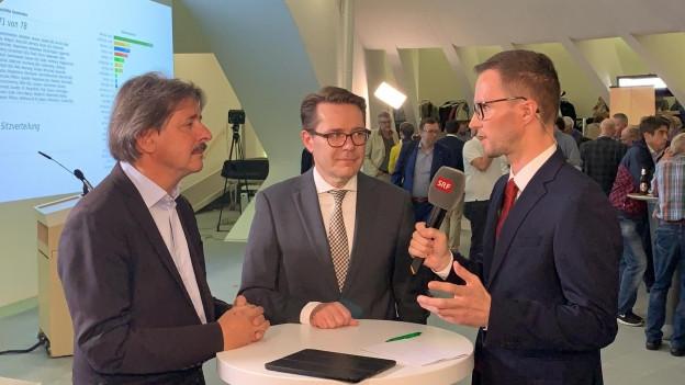 Würth und Rechsteiner im Gespräch mit SRF im Pfalzkeller