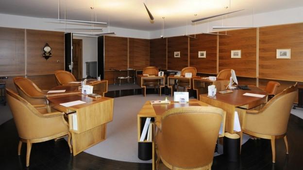 Blick ins Sitzungszimmer der St. Galler Regierung