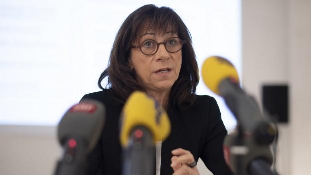 Gesundheitschefin Heidi Hanselmann heute an der Medienorientierung.