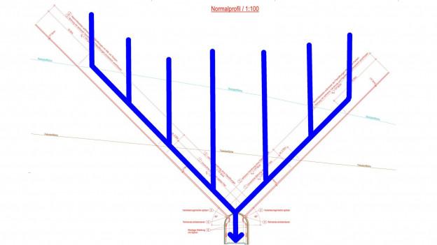 Karte mit eingezeichneten Stollen