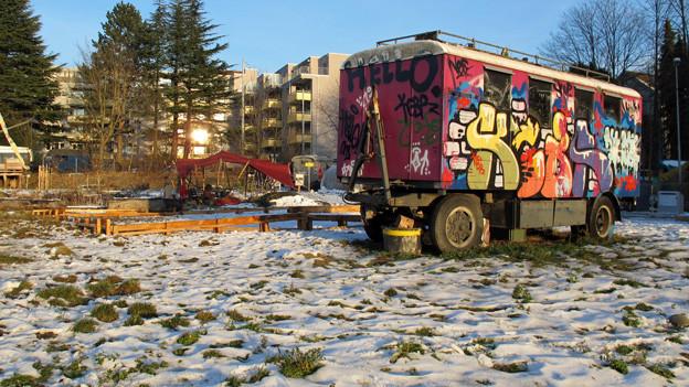 Kronenwiese: Heute bunte Zirkuswagen - morgen bezahlbare Wohnungen.