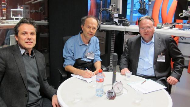 Streitbare Runde: Die Zürcher Stadtratskandidaten im Studio Zürich (v.l. Daniel Hodel, Richard Wolff, Marco Camin).