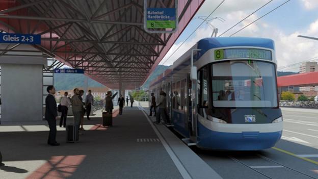 Ab 2017 soll das Tram beim Bahnhof Hardbrücke halten.