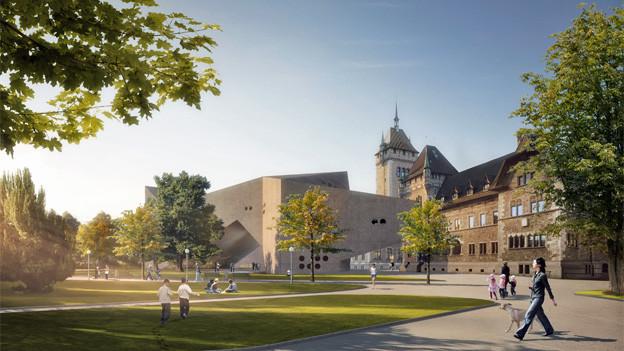 So sieht es dann aus, wenn es fertig ist: der Erweiterungsbau des Landesmuseums.