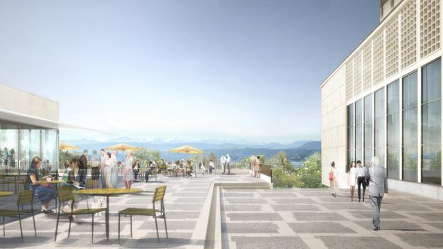 Neue Terrasse am alten Ort: Visualisierung des neuen, alten Kongresshauses.