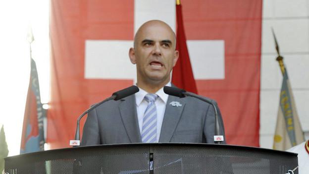 Bundesrat Alain Berset spricht am 1. August in Rümlang