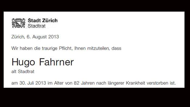 Zürich verliere eine «verdiente Persönlichkeit», schreibt der Zürcher Stadtrat in der Todesanzeige.