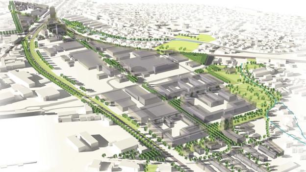 Visualisierung des neuen Stadtteils Neuhegi-Grüze mit Erholungszone.