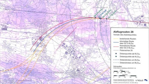 Der Abdrehpunkt kann einen grossen Unterschied machen: Karte der Flugrouten über Dällikon
