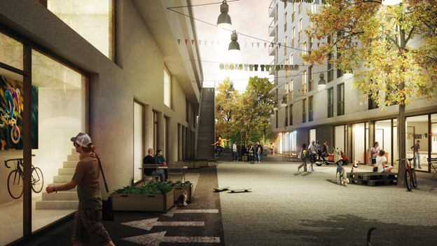 Das ehemals besetzte Binz-Areal in der Vision des siegreichen Architektenteams.