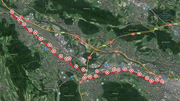 Die Limmattahlbahn verbindet die Kantone Aargau und Zürich.