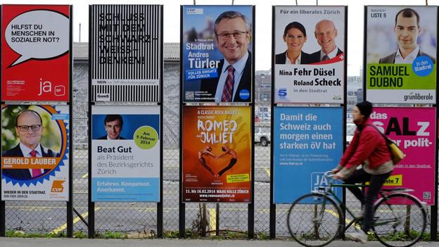 Der Wahlkampf ist in vollem Gange: Strassenszene in Zürich.