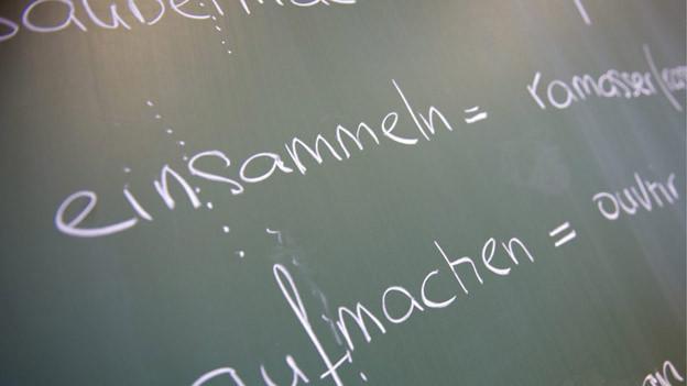 Wandtafel mit deutschen Wörtern und ihrer französischen Übersetzung